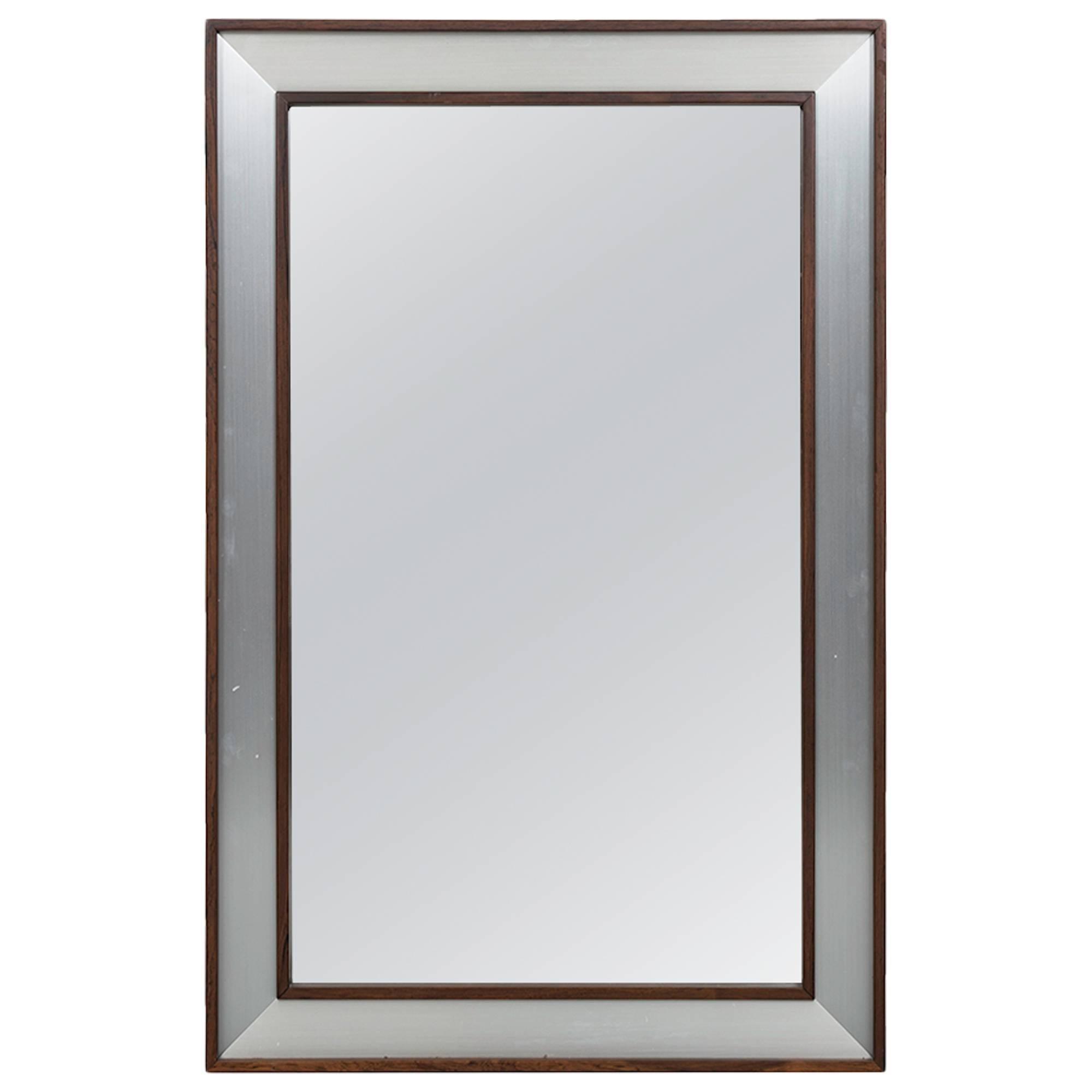Large Rosewood Mirror with Aluminium Frame