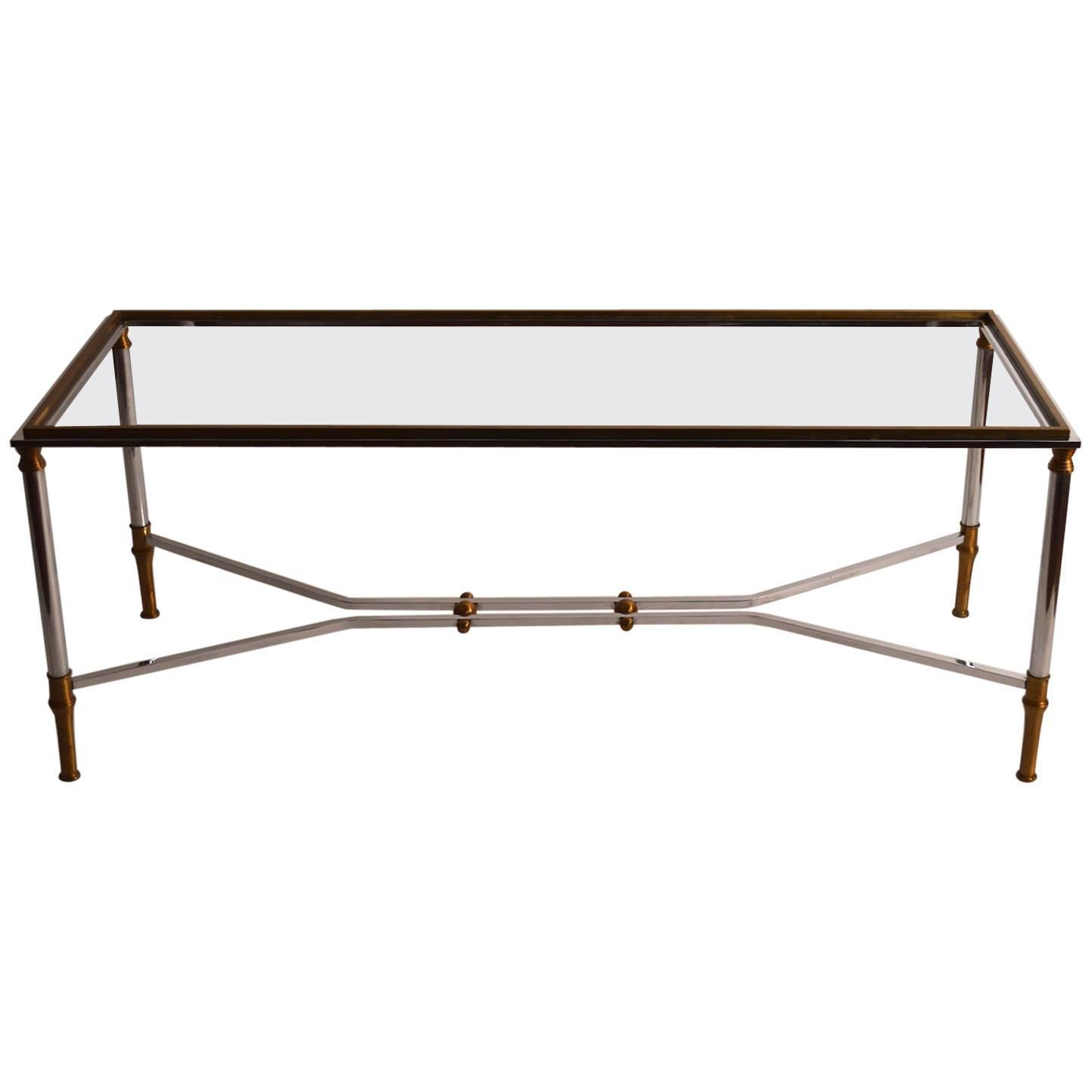 Chrome And Brass Coffee Table By Maison Jansen At 1stdibs