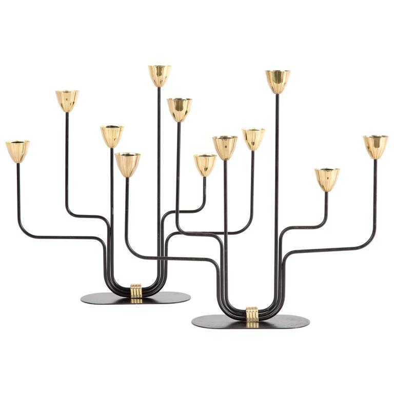 Pair of GUNNAR ANDER large candelabras Ystad Metall Sweden  candle holder