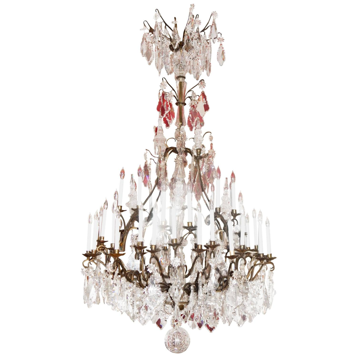 Monumental 7 Antique Louis Xvi Style Bronze And Crystal