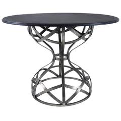 Sculptural Steel and Slate Center Table