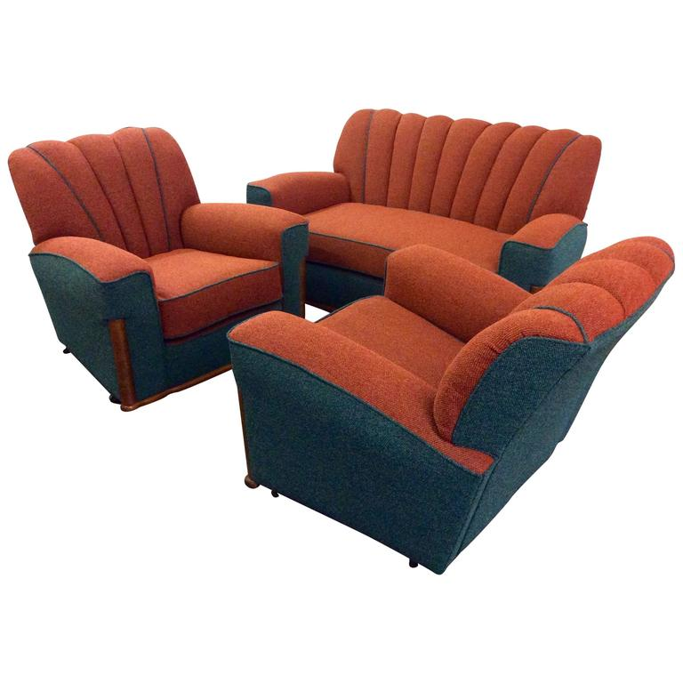Art Deco Lounge Suite Newly Upholstered At 1stdibs