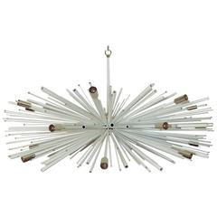 Custom Supernova Chandelier, made in the USA, by Lou Blass, white w/brass
