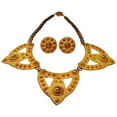 60's Miriam Haskell Russian Gold Demi-Parure Necklace & Earrings