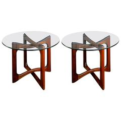 Pair of Walnut and Glass End Tables by Adrian Pearsall