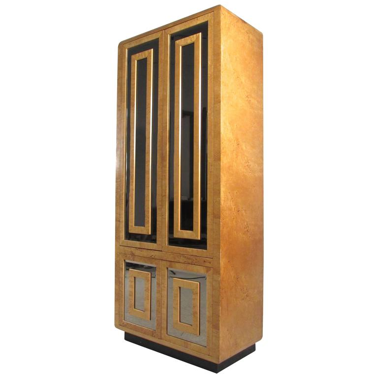 Tall Mid-Century Burl Armoire by Romweber