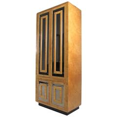 Exquisite Mid-Century Burl Wood Armoire by Romweber