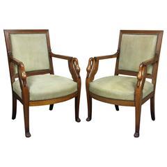 Pair of Empire Style Mahogany Armchairs