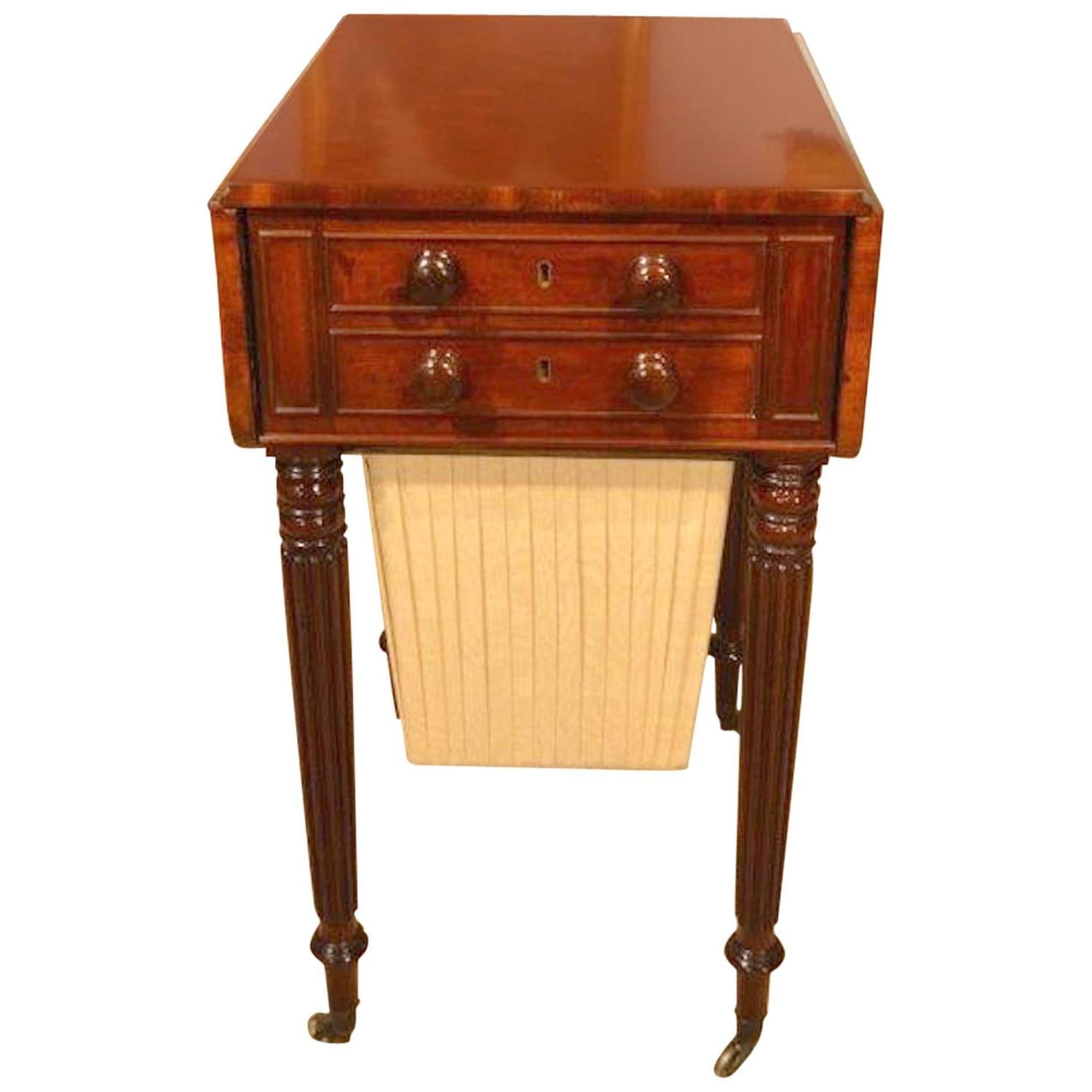 beautiful mahogany regency period antique sewing table. Black Bedroom Furniture Sets. Home Design Ideas