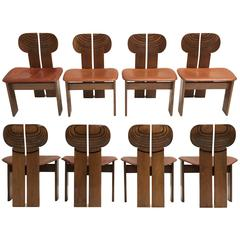 Stunning Set of Eight 'Africa' Chairs by Scarpa, Walnut, Ebony Brass and Leather