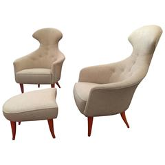 Pair of High Back Sculptural Chairs by Kerstin Hörlin-Holmquist