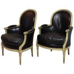 Pair of Louis XVI Period Leather Bergeres