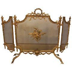 French Louis XVI Style Gilt Bronze Fire Screen