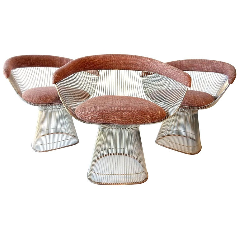 Mid-Century Modern Warren Platner for Knoll Chrome Dining Chairs For Sale