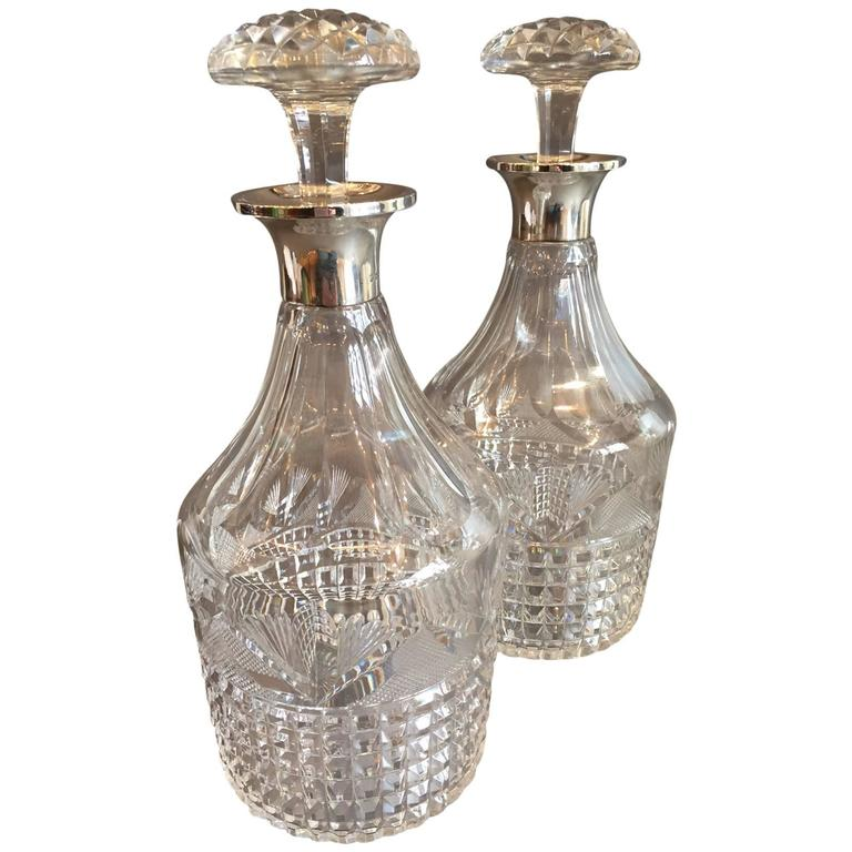 1920s Pair of Round Neck English Silver Decanters