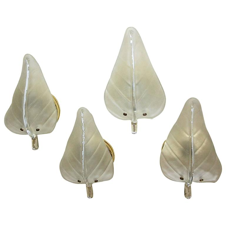Four Murano Glass Leaf Wall Sconces For Sale