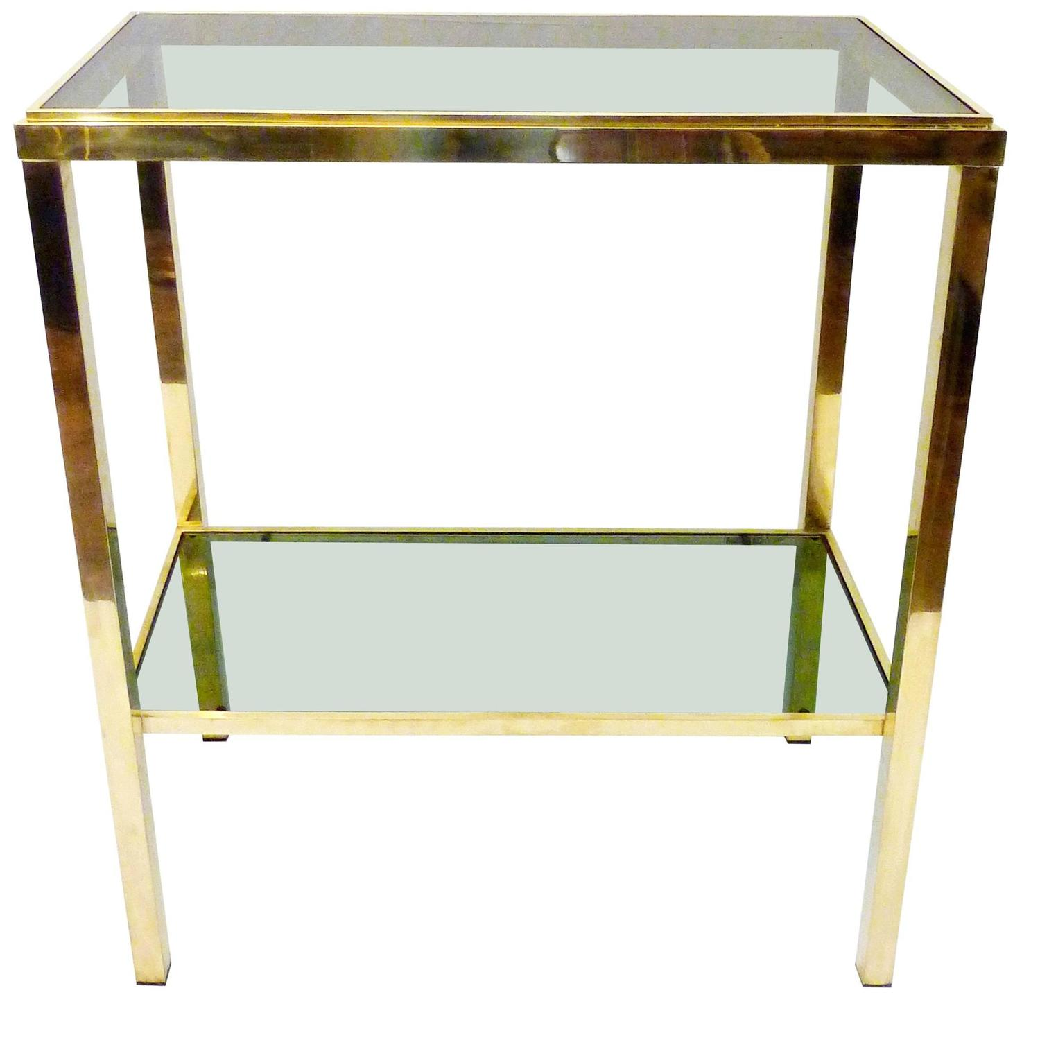 Narrow Demilune Console Tables Italian Two-Tiered Brass Console Table at 1stdibs