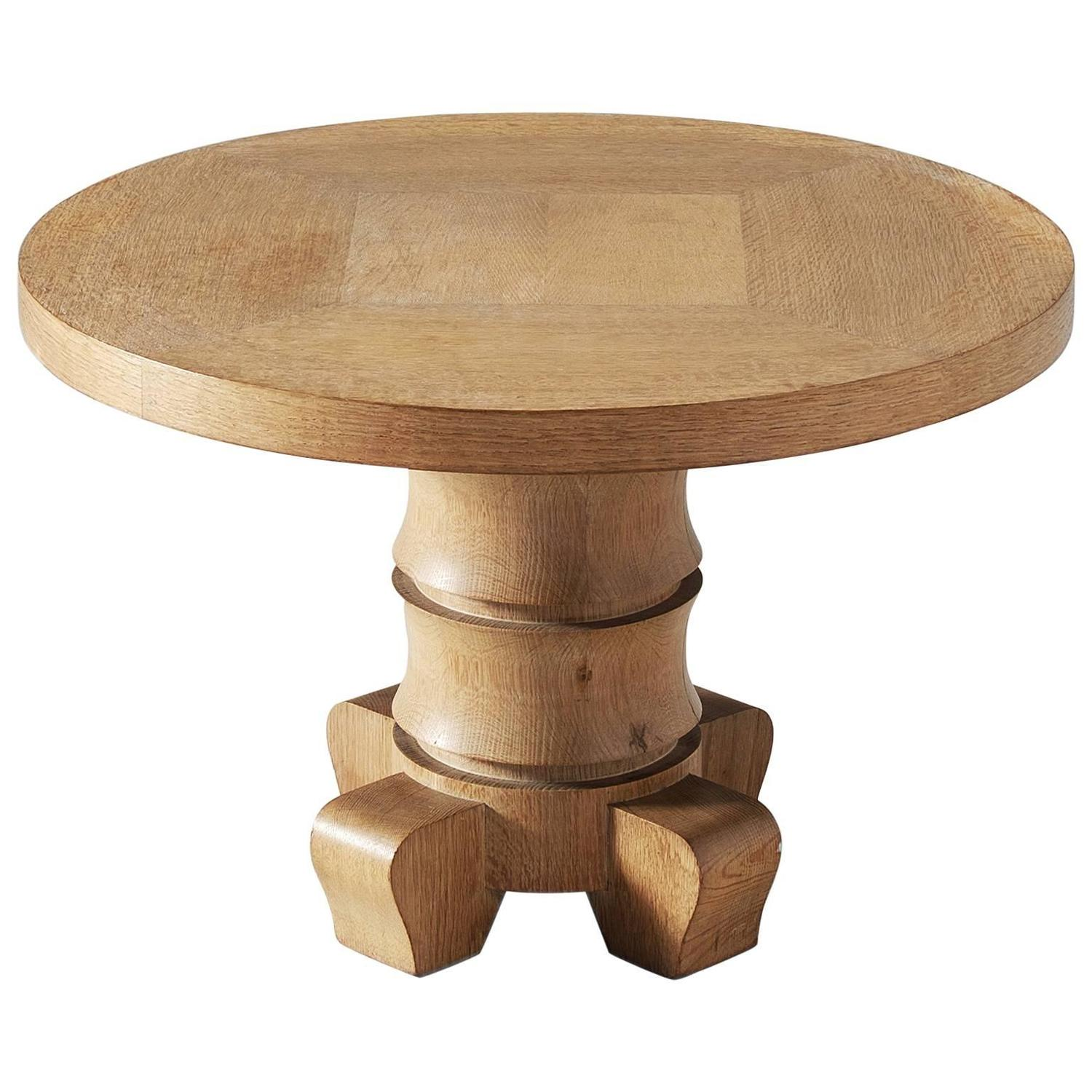 Round Coffee Table In Solid Oak At 1stdibs