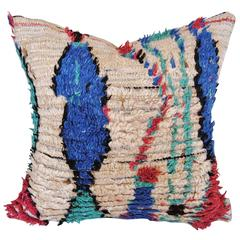 Custom Pillow Cut from a Vintage Hand Loomed Wool Azilal Moroccan Rug
