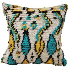 Custom Pillow Cut from a Vintage Moroccan Hand Loomed Azilal Rug