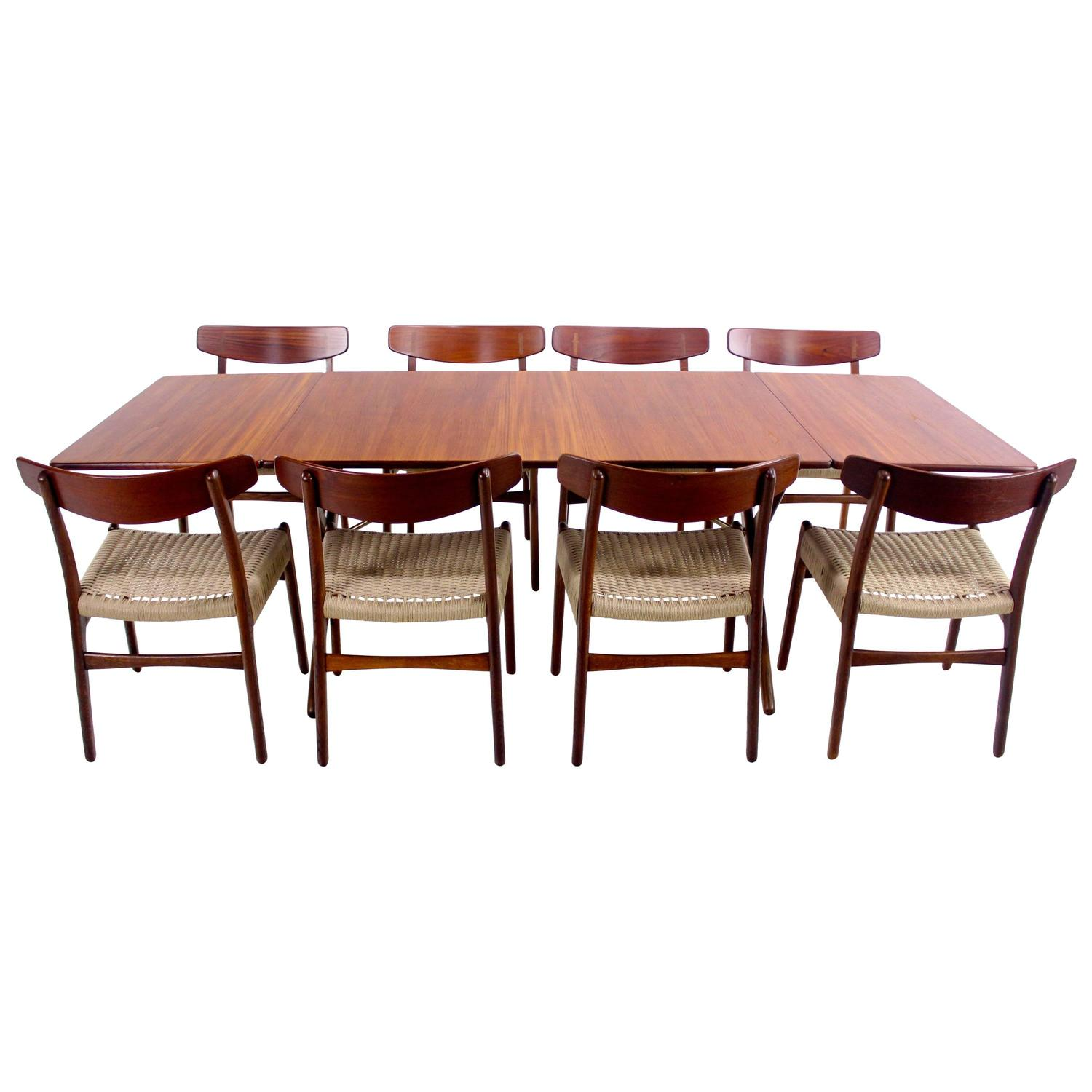danish modern eight chair dropleaf dining set designed by