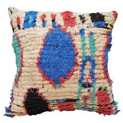 Custom Pillow Cut from a Vintage Hand Loomed Azilal Moroccan Rug