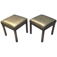 Leather and Brass Ottomans by Mastercraft