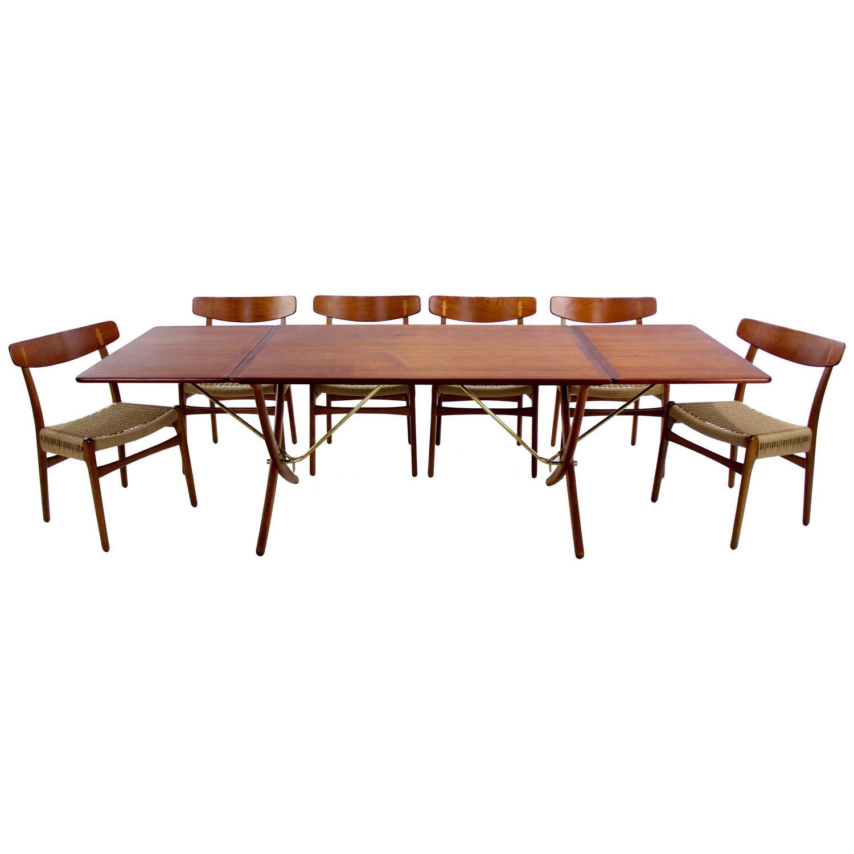 danish modern six chair drop leaf dining set designed by hans wegner