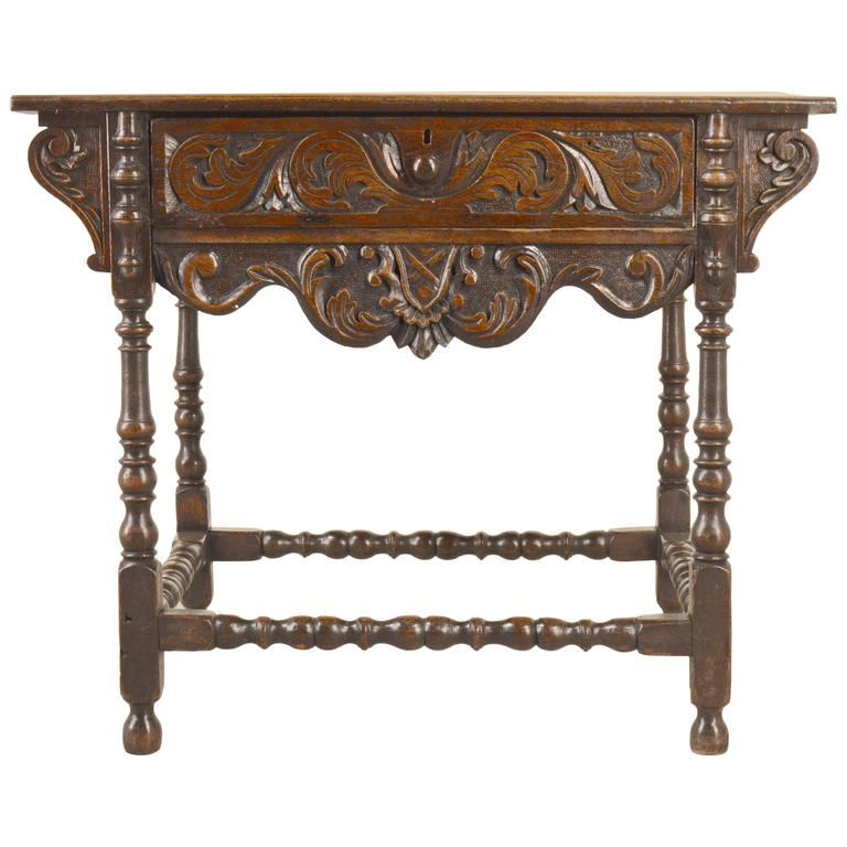 18th Century English Oak Carved Side Table