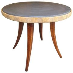 Unusual French 1940s Marble-Top Table with Jute Apron on Splayed Legs