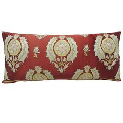 19th Century Moroccan Embroidery Silk Bolster Decorative Pillow