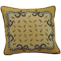 19th Century Blue and Yellow Decorative Tapestry Pillow