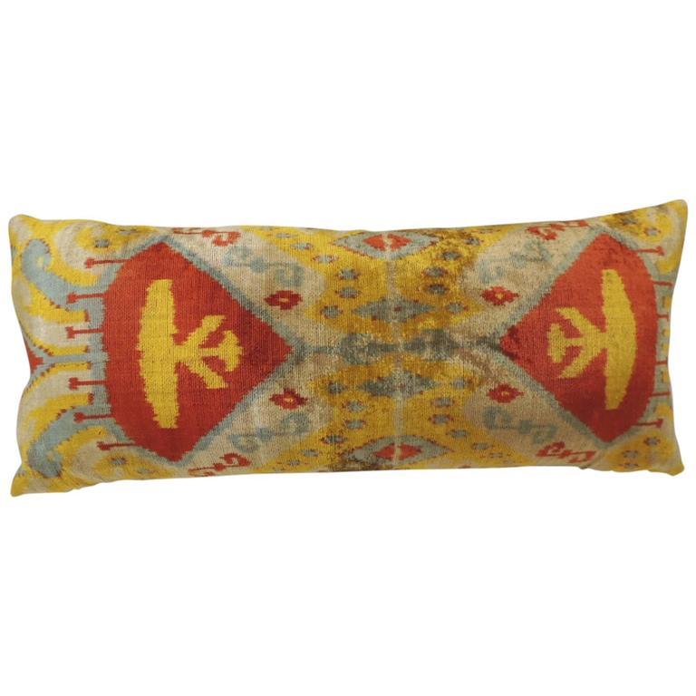 Yellow Silk Throw Pillows : Yellow Silk Velvet Ikat Bolster Pillow at 1stdibs