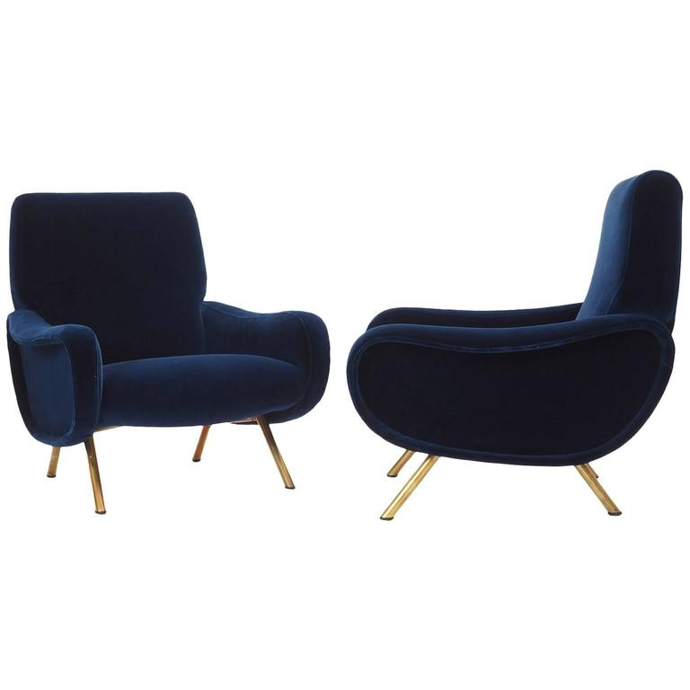 Mid-Century Modern Italian Couple of Lounge Chairs Lady Designed by Marco Zanuso for Arflex Milano For Sale