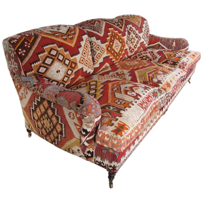 George Smith Standard English Roll Arm Sofa In Kilim At