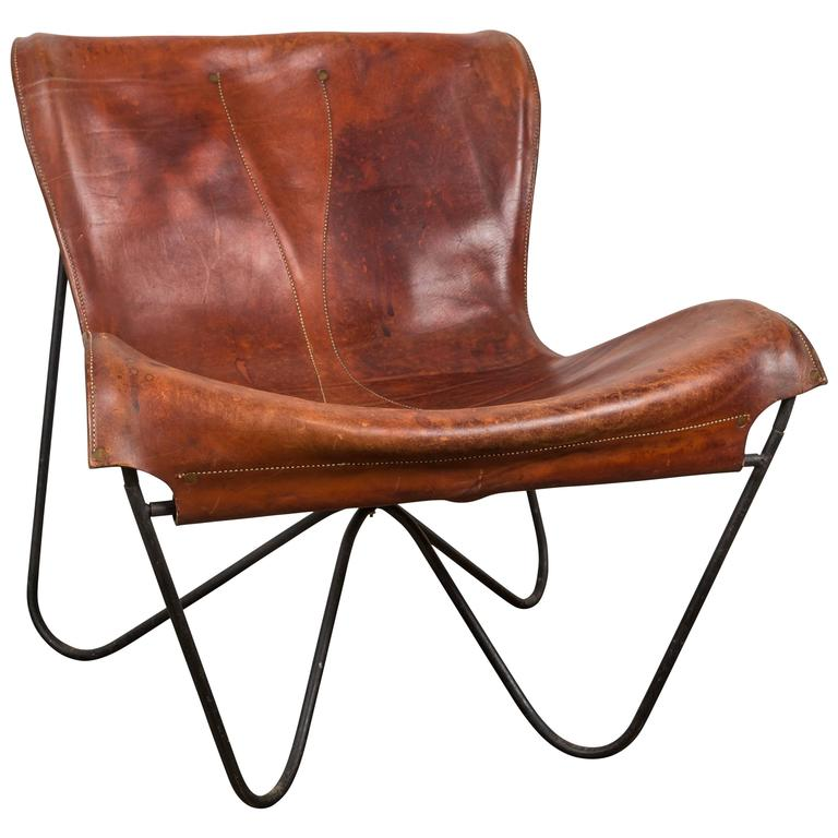 Patinated Leather Lounge Chair By Max Gottschalk At 1stdibs
