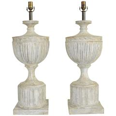 Pair of Large Neoclassical Style Carved Wood Table Lamps