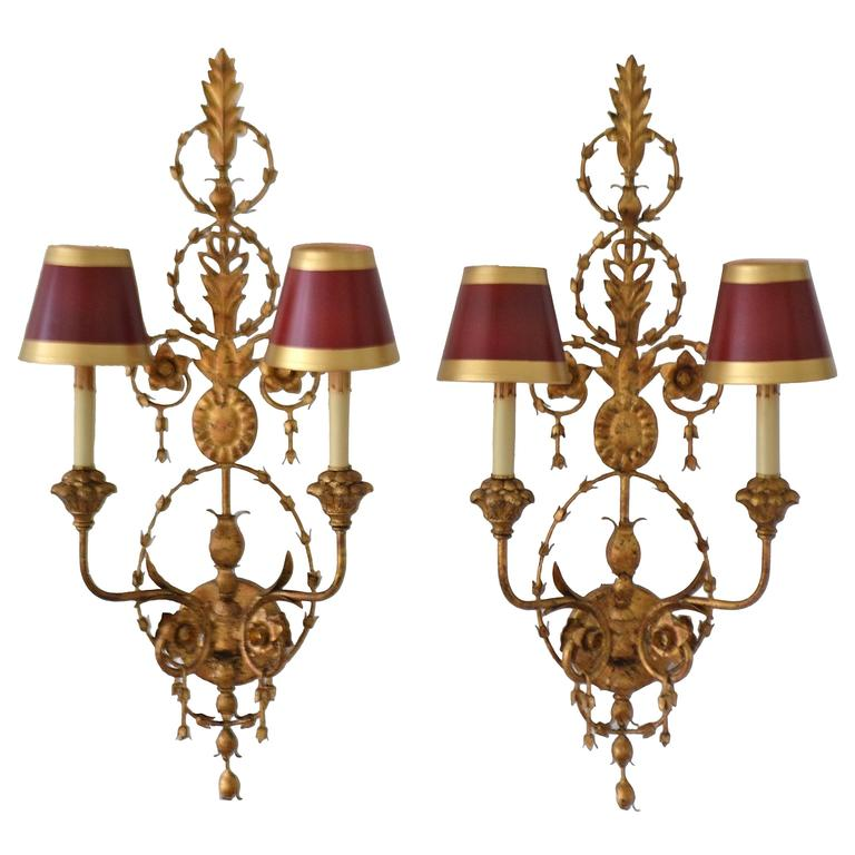 Pair of Gilt Metal Two-Arm Wall Sconces at 1stdibs