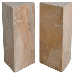 Pair of Postmodern Marble Triangular Form Pedestals
