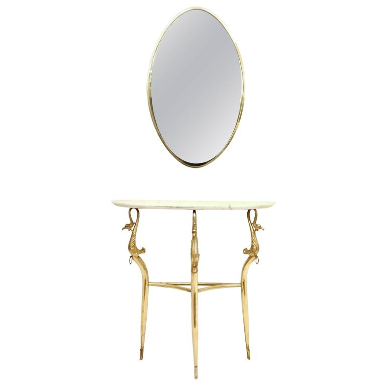 Empire Style Marble Console Table and Mirror