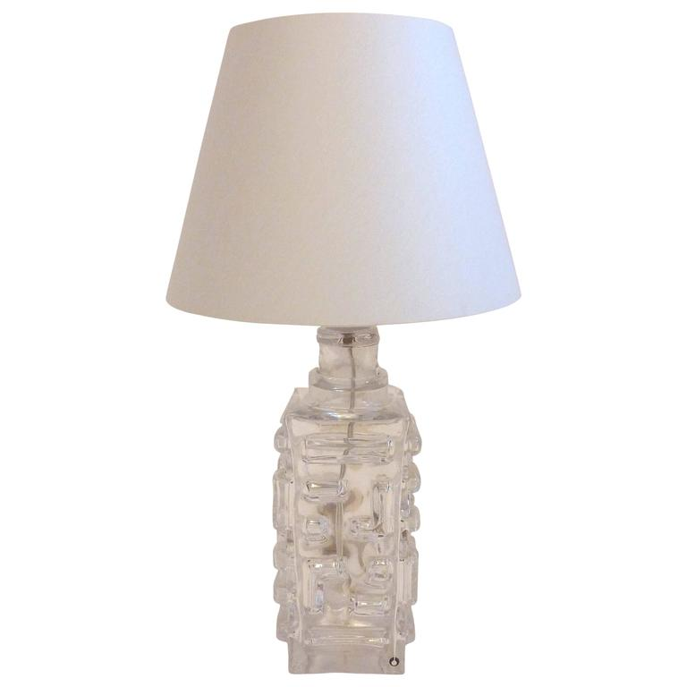 Table Lamp by Pukeberg Glass, Sweden, 1960