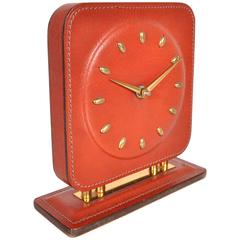 Stitched Leather Clock in the Style of Jacques Adnet, circa 1950