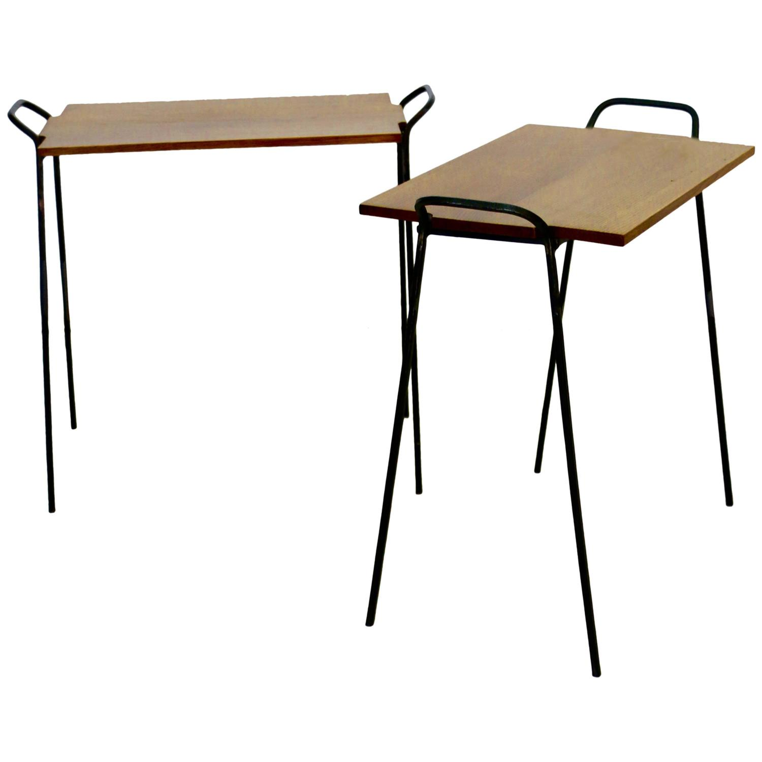 Pair of 1950s side tables in wrought iron and wood at 1stdibs for Wrought iron side table