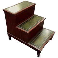 English Mahogany and Tooled Leather Library Steps End Table