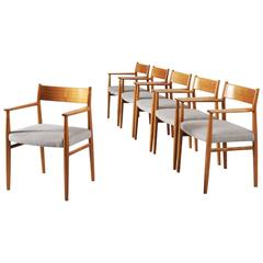 Arne Vodder Set of Six Dining Chairs in Walnut