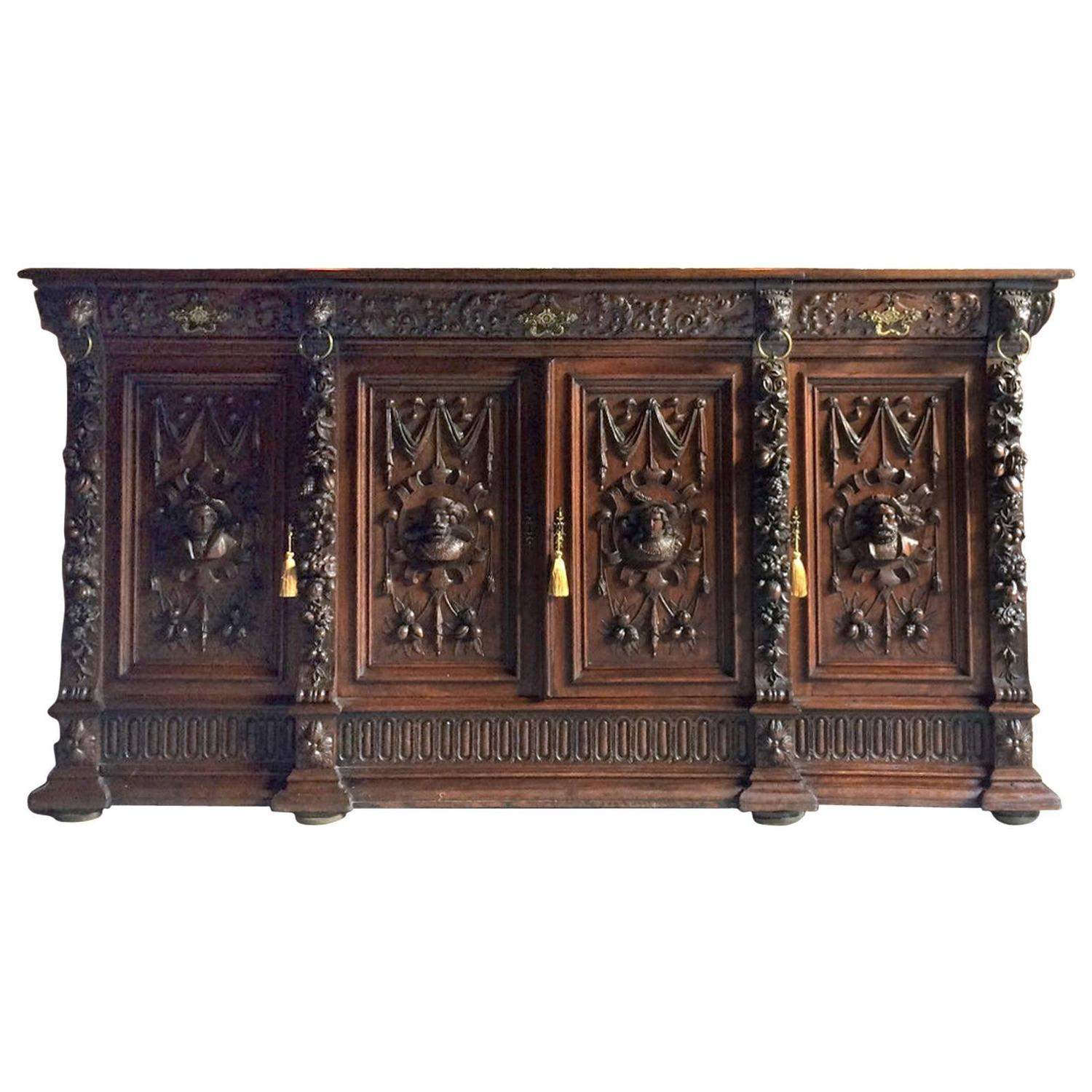 antique flemish gothic sideboard credenza victorian oak. Black Bedroom Furniture Sets. Home Design Ideas