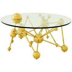 Coffee Table Sputnik with Gold Finish Structure and Clear Glass Top