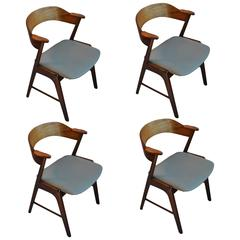 Kai Kristiansen, Brazilian Rosewood and leather dining chairs, set of 4