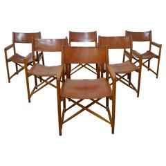 Set of Six Safari Dining Chairs in the Style of Mogens Koch, Denmark, 1960s
