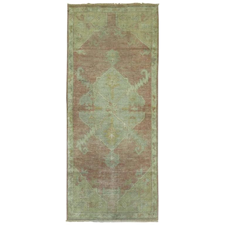 Vintage Throw Rugs: Antique Oushak Small Throw Rug At 1stdibs